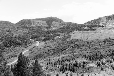 Colorado State Highway 139, called Douglas Pass Road, winding through the mountains. The picture is monochrome.