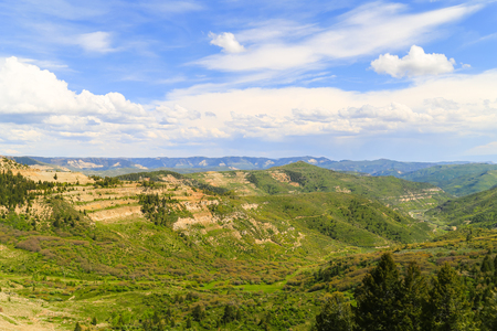Overlook of mountains and canyons on the Colorado State Highway 139, called Douglas Pass Road.