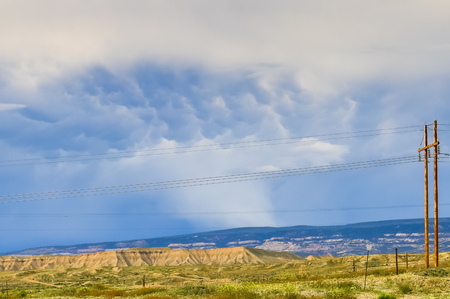 Mammatus Cloud in the sky indicating an approaching thunderstorm near Rangely in Colorado.
