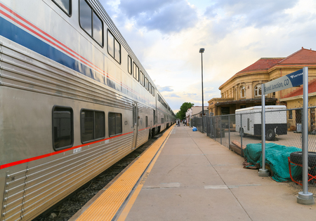 Grand Junction, USA - May 29, 2016: The Amtrak passenger train California Zephyr at the station waiting until all luggage is on board to continue the journey.