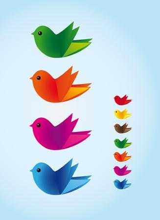 Colorful illustration of birds Illustration