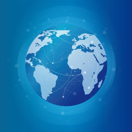 Modern globe network blue Vector