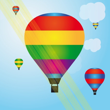 mid air: Colorful illustration of hot air balloons Illustration