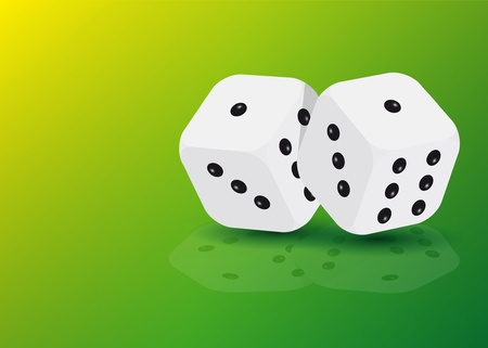 throw up: two dices with reflection on green background
