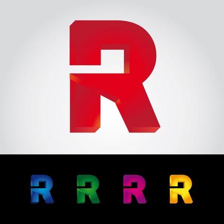 r icon 3d logo Stock Vector - 13435695