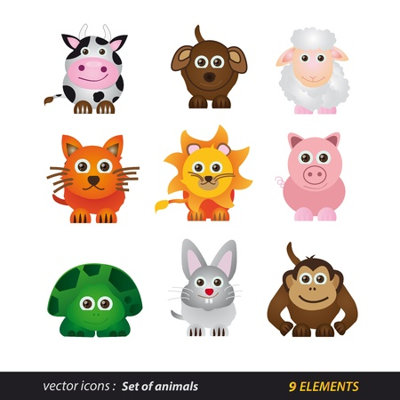 on all fours: Set of animals  Cartoon and isolated