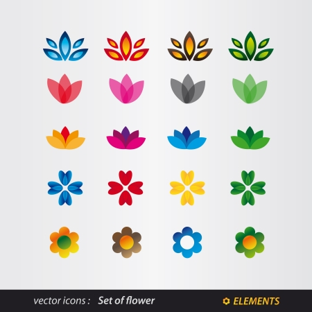 set of logo flower Vector