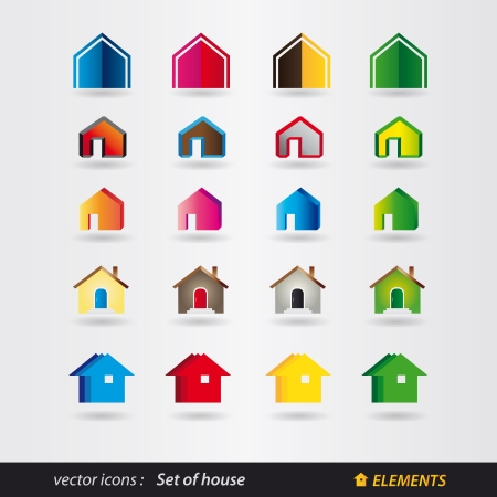 set of house - real estate Vector