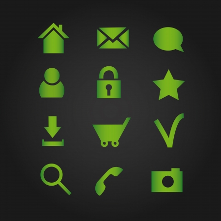 Basic web icons, green series Stock Vector - 18625663