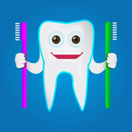 Tooth character holding toothbrush Stock Vector - 18625683