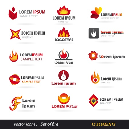 Collection Of Fire Icons - Isolated On White Background Stock Vector - 18688914