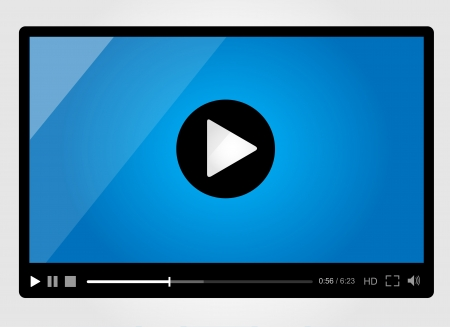 Video player for web, minimalistic design Vector
