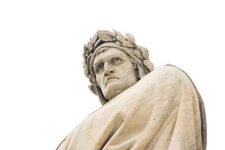 dante alighieri: Dante Alighieri statue in Piazza Santa Croce, isolated on white Stock Photo