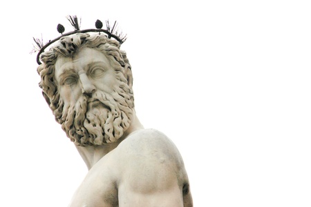 Close up of face of statue of Neptune at Piazza della Signoria, Florence, Italy Stock Photo