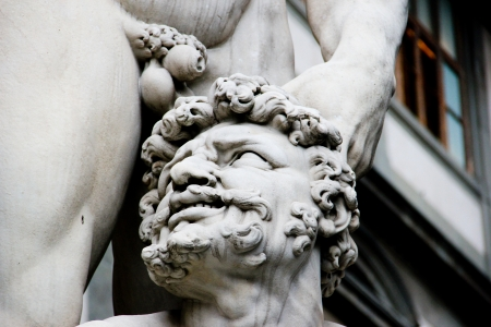 chiseled: Close up of Hercule and Cacus, Florence, Italy