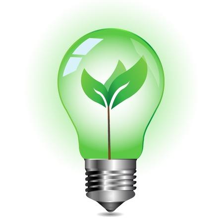 green light bulb: Green energy concept, plant growing inside the light bulb