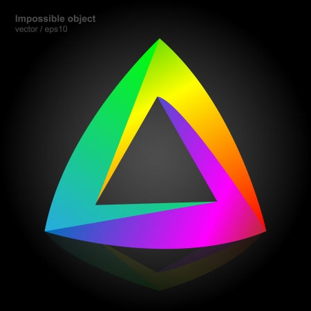 optical illusion: Abstract symbol, impossible object, triangle colorful Illustration