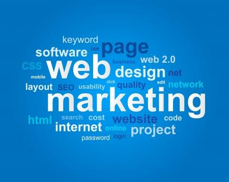 disciplines: Web marketing in woord wolk op een blauwe achtergrond Stock Illustratie