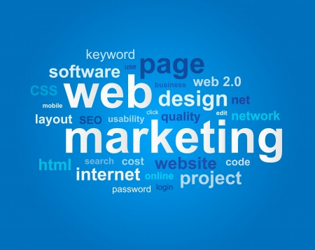 web marketing: Web marketing in word cloud on blue background Illustration