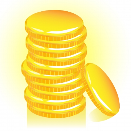 coins stack: Stack of gold coins.