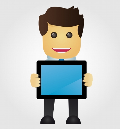 Business man with tablet pc Illustration