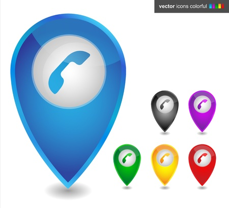 Map pointer with phone, icon colorful Stock Vector - 19150165