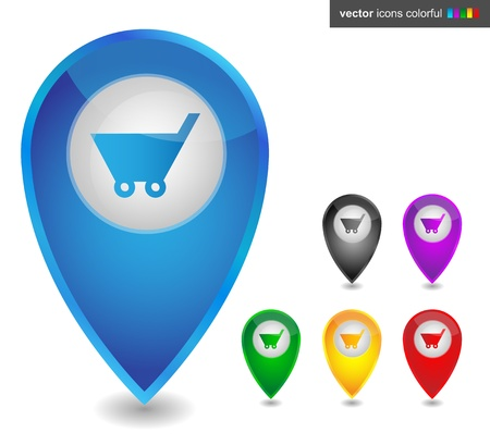 Map pointer with shopping cart , icon colorful Stock Vector - 19201026