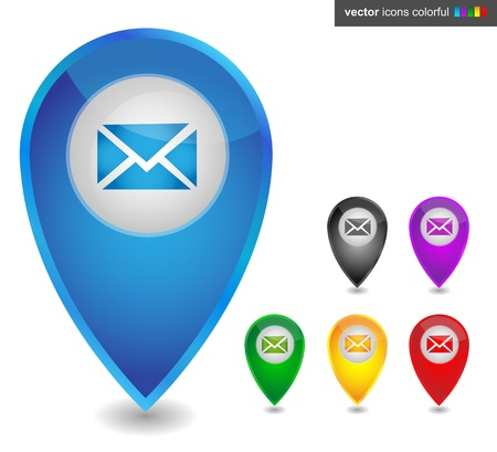 map pointer: Map pointer with email, icon colorful Illustration
