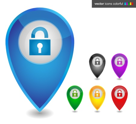 Map pointer with lock, icon colorful Illustration