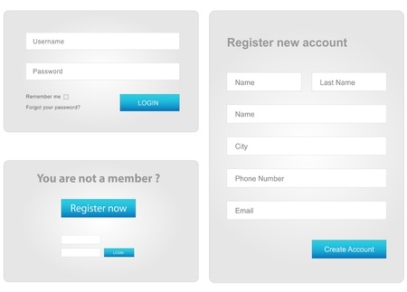 set form: login and register web form