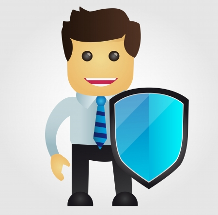 anti virus: Business man with protection shield