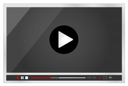 Video player for web, minimalistic design Vector