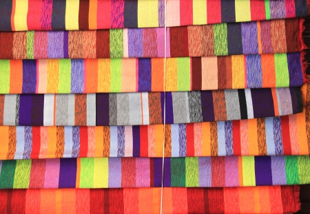 Colorful Fabric at market in Marocco