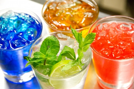 Group of colorful cocktail