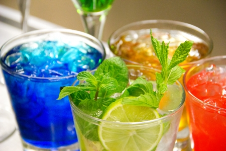 rainbow cocktail: Group of colorful cocktail  Background