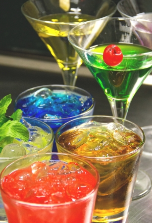 Colorful cocktails close up