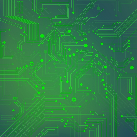 Green Abstract background of digital technologies - electronic circuit