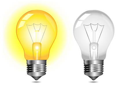 incandescent: Glowing light bulb icon - on   off