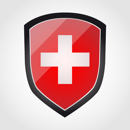 swiss flag: Shield with flag inside - Swiss - vector