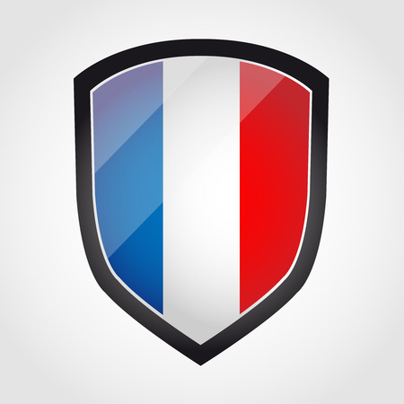 Shield with flag inside - France - vector Vector