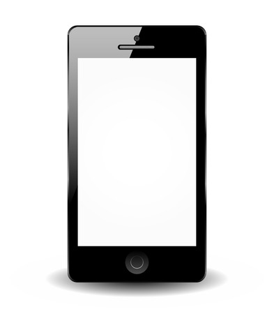 Black smartphone isolated on white background - Smart phone  Vector
