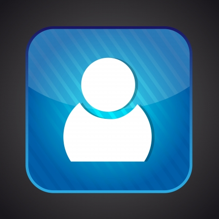 User icon - vector blue app button Illustration