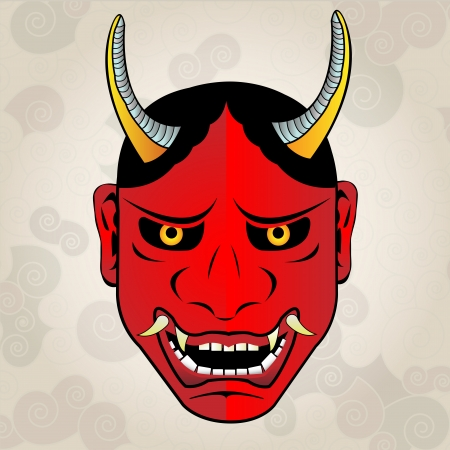 Hannya mask, japanese tattoo Vector
