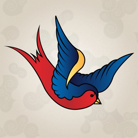 Tattoo style swallow, old school Vector