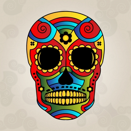 skull drawing: Sugar skull mexico, day of dead - Vector Illustration Illustration