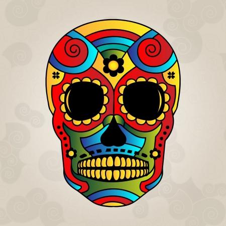 Sugar skull mexico, day of dead - Vector Illustration Ilustrace