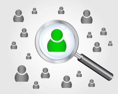 Job search concept  magnifying glass searching people   Ilustracja