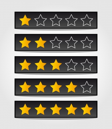 set of black rating stars