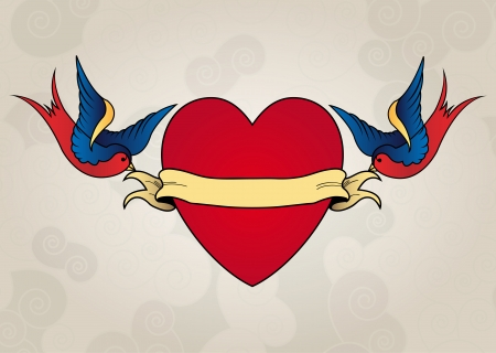 heart tattoo: Tattoo style swallows with heart, old school