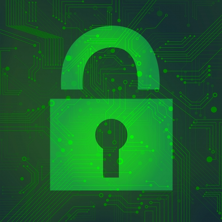 closed circuit: Padlock circuit over green background vector
